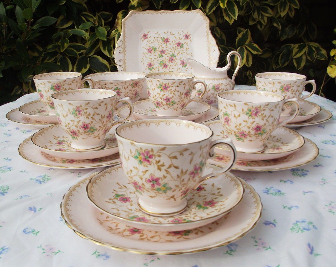 Tuscan Delicate Pink & Gold Flowers Teaset