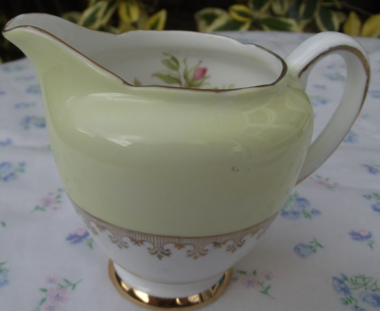 Tuscan/Imperial Yellow Milk Jug with Pink Rose Design