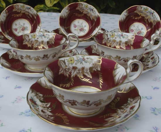 Radford Handpainted Cabinet Cups, Deep Red, Floral Motif & Gilt Accents