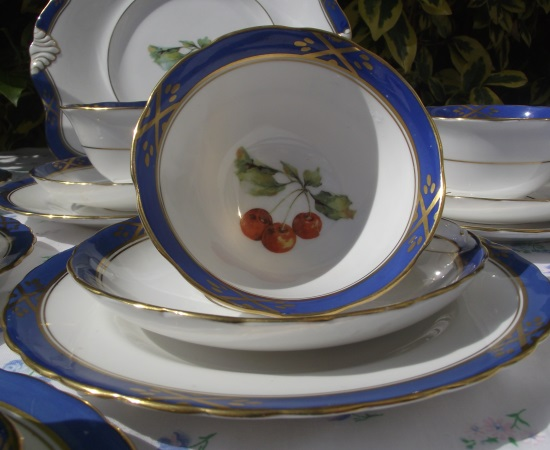 Tuscan Blue with Fruit Motif