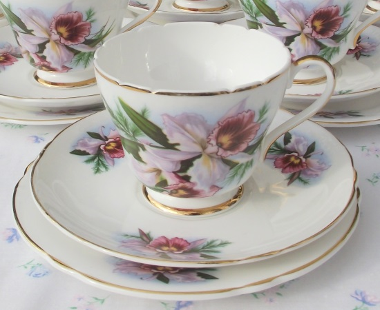 Shelley Pink Daffodils Tea Set