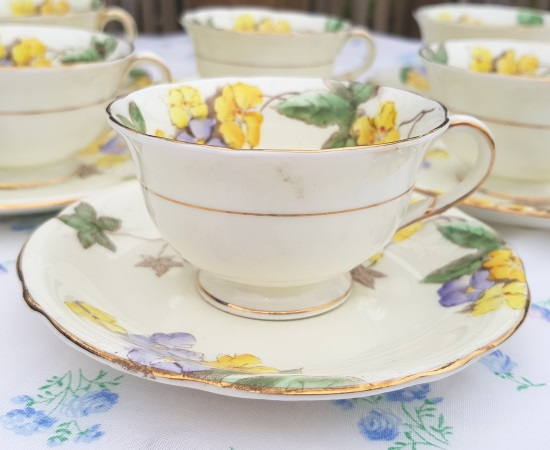 Foley Yellow Flowers Demitasse Tea Set