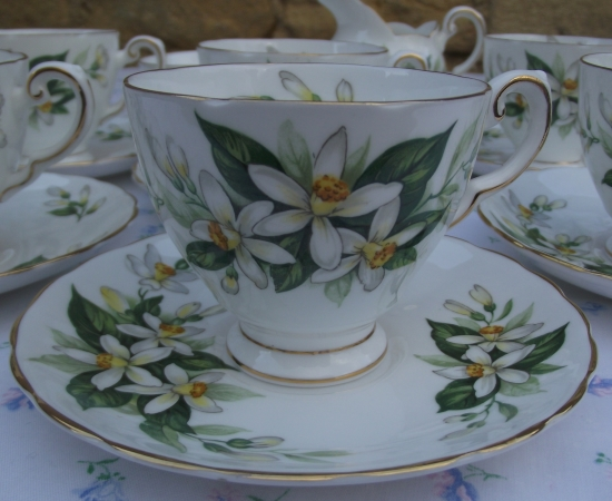 Tuscan Bridal Flower Demitasse Set