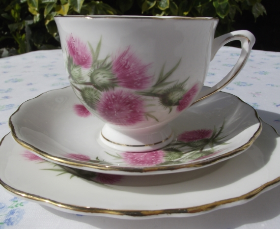 Colclough Pink Thistles Tea Set
