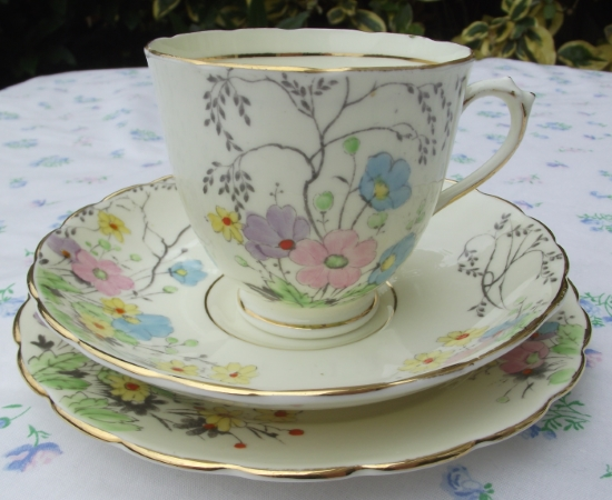 Tuscan Hand Painted Teacup Trio