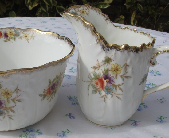 Handpainted Creamware Milk & Sugar