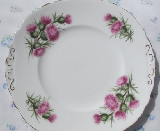 Colclough Pink Thistle Cake Plate